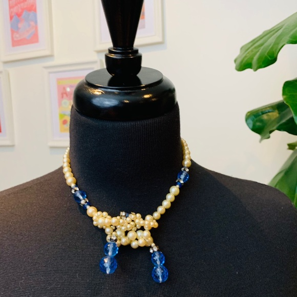 ♻️🌿 Vintage | 1970s Lariat Necklace in Blue/Pearl